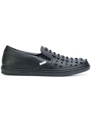 Jimmy Choo 'Grove' Studded Slip On Sneakers Men Leather Rubber 40 Black