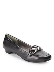 Adrienne Vittadini Caitee Leather Loafers Black