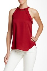 Fate Metal Accent Halter Tank Red