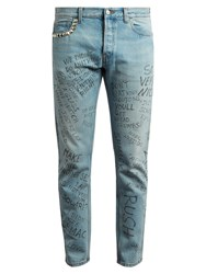 Gucci Slim Fit Typography Print Cropped Jeans Light Blue