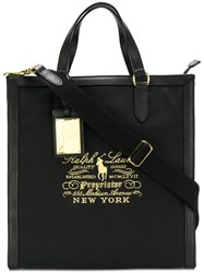 Ralph Lauren Logo Embroidered Tote Cotton Black