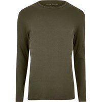 River Island Mensbig And Tall Green Slim Fit Long Sleeve T Shirt