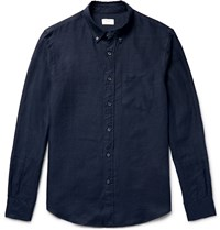 Club Monaco Slim Fit Button Down Collar Linen Shirt Blue