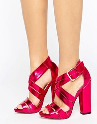 Little Mistress Open Toe Block Heeled Cross Over Sandal Pink