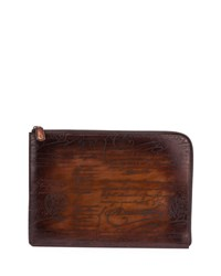 Berluti Pandora Scritto Leather Pouch Brown