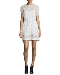Mcq By Alexander Mcqueen Belted Lace Cape Dress Ivory