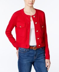 Tommy Hilfiger Cropped Cardigan Only At Macy's Scarlet