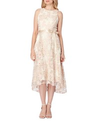 Tahari By Arthur S. Levine Plus Floral Embroidered Fit And Flare Dress Champagne