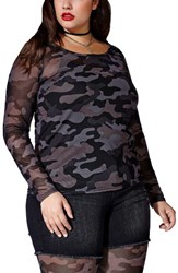 Mblm By Tess Holliday Plus Size Women's Camo Mesh Double Layer Top