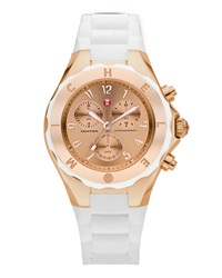 Michele Tahitian Large Jelly Bean Chronograph White Rose Gold