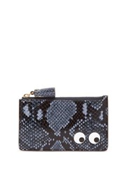 Anya Hindmarch Eyes Python Effect Leather Cardholder Blue Multi