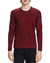 The Kooples Merino And Leather Crew Neck Sweater Red