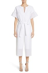 St. John 'S Collection Eyelet Trim Stretch Twill Jumpsuit Bianco
