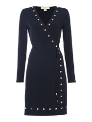 Michael Kors Longsleeve Studded Wrap Dress Navy