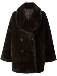 Fendi Vintage Faux Fur Coat Brown