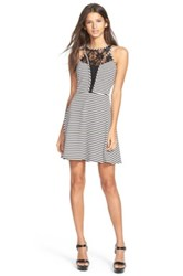 Fire Lace Inset Stripe Skater Dress Juniors Black