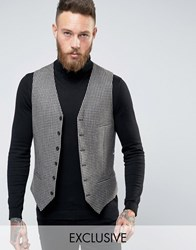 Heart And Dagger Skinny Waistcoat In Check Blue