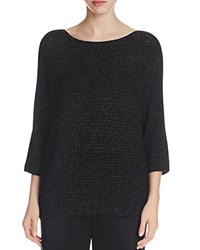 Eileen Fisher Boat Neck Metallic Ribbed Sweater Black