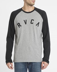 Rvca Light Grey And Black Shortstop Raglan Two Tone Ls T Shirt