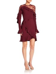 Elie Saab Asymmetrical Ruffled Lace Dress Cherry