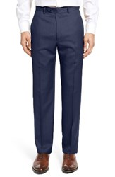 Santorelli Men's Big And Tall Flat Front Twill Wool Trousers Navy