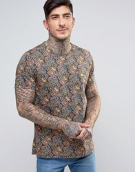 Pretty Green Gretton T Shirt All Over Paisley Print Paisley Black