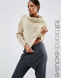 Daisy Street Tall Roll Neck Knitted Cropped Jumper Oatmeal Beige