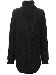 Hope Ribbed Turtleneck Long Sweater Black