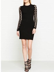 Versus By Versace Mesh Sleeve Bodycon Dress Black