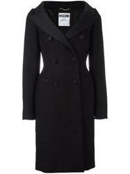 Moschino Slim Fit Double Breasted Coat Black