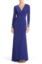 Vince Camuto Women's Embellished Sleeve Jersey Gown Indigo