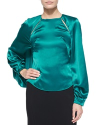 Zac Posen Long Sleeve Keyhole Top Harbor Blue