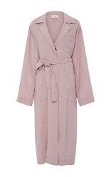 Isa Arfen Long Safari Trench Coat Light Pink