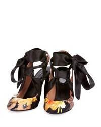 Dries Van Noten Printed Fabric Ribbon Tie Pump Black
