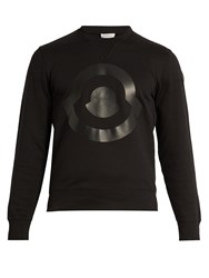 Moncler Logo Print Cotton Sweatshirt Black