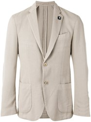 Lardini Classic Blazer Men Cotton Viscose Polyester 48 Grey