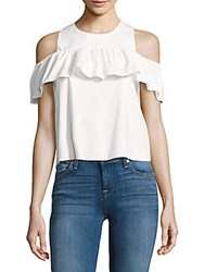 Saks Fifth Avenue Red Ruffled Cold Shoulder Top White