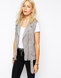 House Of Harlow Stevie Faux Suede Gilet With Belt Grey