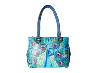Anuschka 626 Triple Compartment Medium Tote Jewelled Plume Handbags Blue