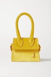 Jacquemus Le Chiquito Micro Patent Leather And Nubuck Tote Yellow