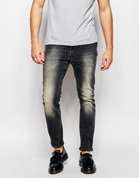 Asos Skinny Jeans In Dirty Washed Black Black