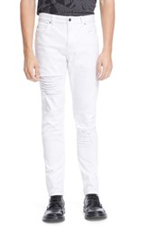 Men's Helmut Lang Ripped Skinny Jeans Optic White