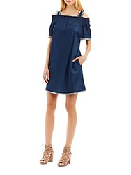 Nicole Miller Smocked Cotton Off The Shoulder Dress Denim