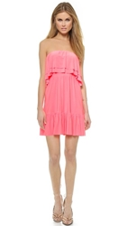 Tbags Los Angeles Ruffle Strapless Dress Neon Pink