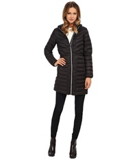 Cole Haan Chevron Quilted Hooded Single Breasted Lightweight Packable Down Black Women's Coat