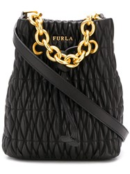 Furla Stasy Quilted Bucket Bag Black