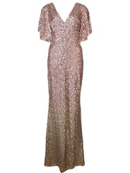 Marchesa Notte Sequinned Cape Sleeve Gown Nude And Neutrals