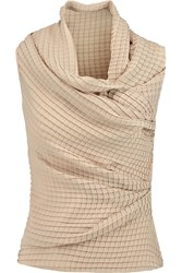 Vionnet Draped Pleated Crepe Top Nude