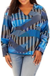 Rebel Wilson X Angels Plus Size Women's Print Pleated Sleeve Top Blue Wave