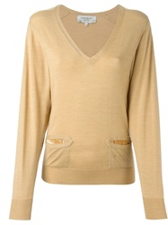 Yves Saint Laurent Vintage Classic V Neck Sweater Nude And Neutrals